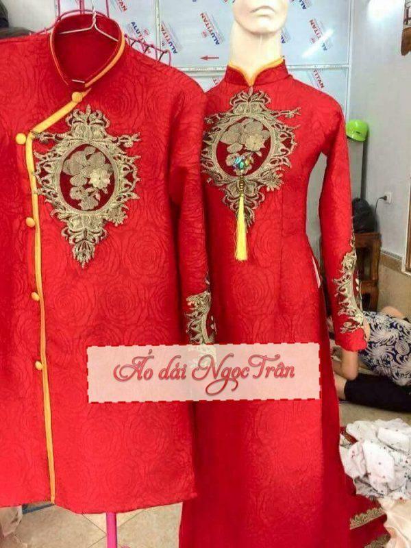 Chuyên may áo dài cưới đẹp TpHcm uy tín - Áo dài Ngọc Trân